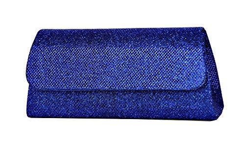 Clutch / Abendtasche mit Kette aus Synthetik mit Metallicfaden Blau