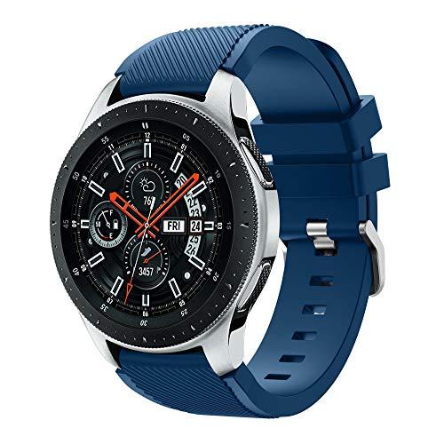 Kompatibel mit Galaxy Watch 46mm Armband, 22mm Silikon Ersatzarmband Fitness Uhrenarmband Sportarmband Sport Ersatz Strap Silikonarmband Sport Band für Samsung Galaxy Watch 46mm (Marine) -