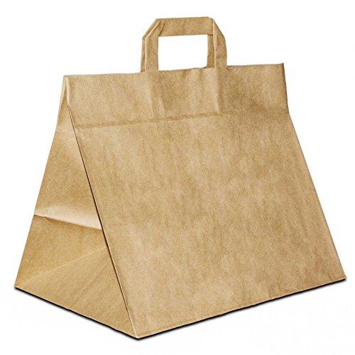 100 x Bäckertüten | Konditortüten extra breiter Boden braun 32+22x27 cm | stabile Giveaway | Brottüten weiter Boden |Brötchentüte | HUTNER