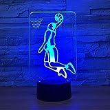 BFMBCHDJ Jouer au basket-ball 3D lampe LED éclairage 7 changement de couleur Sport Slam Dunk 3D veilleuse décoration de la maison meilleur cadeau pour enfant