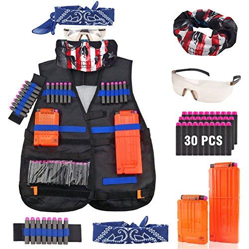 Kinder Taktische Weste Jacke Kit für Nerf Spielzeugblaster N-Strike Elite Serie (Weste Old West)