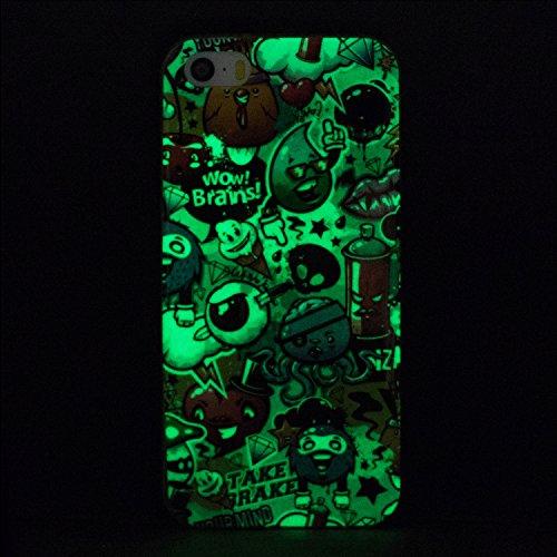 Coque iPhone 5 / 5S / SE, Etui iPhone 5 en Silicone, SpiritSun Etui Coque TPU Slim Bumper Souple Lumineux Etui Housse de Protection Flexible Soft Case Cas Couverture Anti Choc Ultra Mince Légère Gel E Petits Monstres