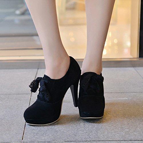 Mee Shoes Damen elegant populär Geschlossen runder toe mit Lace Nubukleder Plateau Pumps mit hohen Absätzen Schwarz