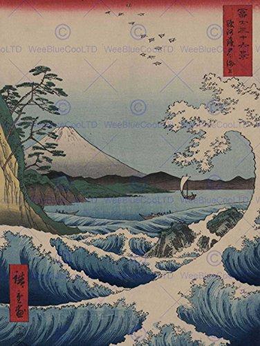 UTAGAWA HIROSHIGE-GIAPPONESE DISEGNO MARE SATTA OLD ART PRINT 30,48 40,64 CM X 16 X (12
