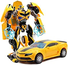 Kiditos Die Cast Metal Transformer Bumblebee Robot to Car Converting Figure (Multicolour)