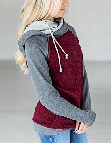 MODETREND Donna Felpa Con Cappuccio Colore A Contrasto Fold Collare Manica Lunga Maglie Pullover Hoodie Sweatshirt Sportswear Autunno Inverno Rosso