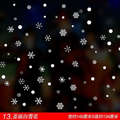 VHVCX Weihnachtseinkäufe in den Schaufensterglaswandaufkleber Szene Layout Fenstergitter Aufkleber Weihnachtsbaumschmuck Schneeflocken, Schnee 13 Weihnachtsblume, König