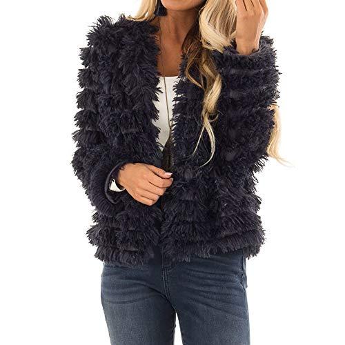 Luckycat Damen Plüsch Herbst Streifen Lange Ärmel halten warme Mode Kunstpelz Langen Mantel Jacken Mäntel Sweatjacke Winterjacke Fleecejacke Steppjacke