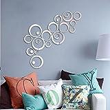 ZGY Silber Ring im 3D Style Wandtattoo Wandaufkleber Wandsticker Wandbilder für Schlafzimmer und Wohnzimmer
