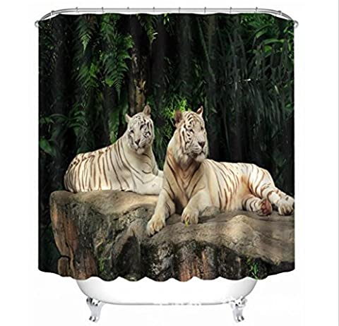 KKLL Shower Curtain 3D Tiger lion beast Three dimensions Visual space Printing Polyester fabrics Waterproof Mildew Resistant Thickened Bathroom Bathtub Occlusion Cut off Hanging curtains , 150*180cm