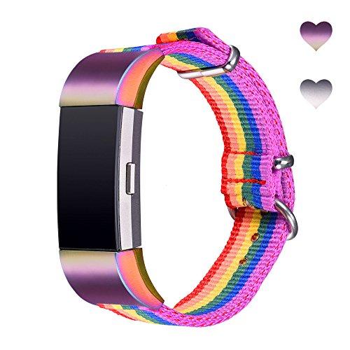 Bandmax Gurt für Fitbit Laden 2, Ersatz Metall Bands mit Luxus Strass Verstellbar Fitbit Laden 2Bands Armband (3Farben). -