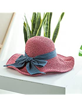 LVLIDAN Sombrero para el sol del verano Dama SolAnti-sol Beachstrawhat rosa plegable