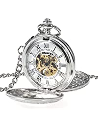 INFANTRY Silver Tone Skeleton Mechanical Classic Pocket Watch and Chain for Men Steampunk Double Hunter Engraved