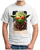 OM3® - YODA-Deejay - T-Shirt Jedi Ritter Turntables Music DJ Rave House Indie Trance Techno Geek, XL, Weiß