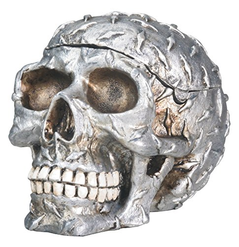 onal Diamond Plated Human Skeleton Skull Storage Container Halloween Decoration New ()