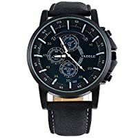 Souarts Mens Black Band Luminous Round Dial Sports Watch Quartz Analog Wrist Watch 22cm