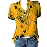 CUTUDE Damen T Shirt, Bluse Kurzarm Sommer Mode Frauen Drucktasche Plus Size Kurzarm Bluse Easy Top Shirt (Gelb, XXX-Large)