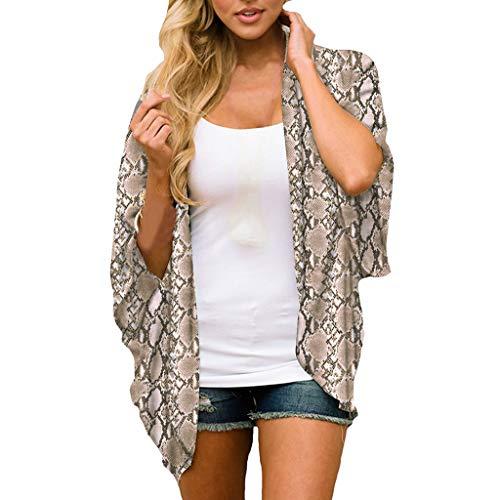 (CAOQAO Art- Und Weise Farbe Spitze Plus Frauen Chiffon Snake Print Kimono Lose Halbe HüLse Schal Cardigan Cover Up(XXL,Brown))
