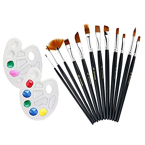 WisFox 12 Pieces Artist Paint Brushes Set Multifunctional Round Pointed Tip Woody Hair Brush Set Art Painting Supplies for WatercolorAcrylic and Oil Painting with 2 Pieces Paint Tray Palette,