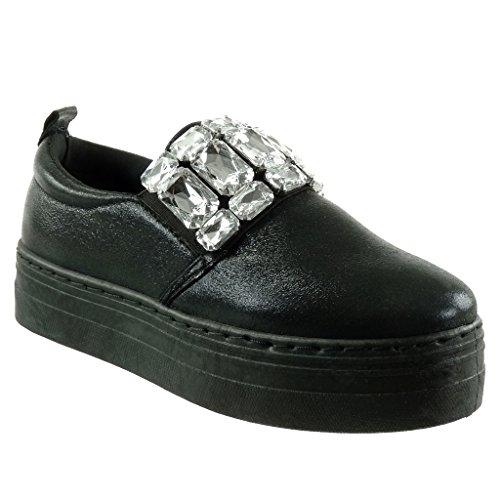 Angkorly Damen Schuhe Sneaker - Plateauschuhe - Schmuck - Strass -  Glänzende Flache Ferse 4 cm 6026673b84
