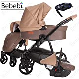 Bebebi | Modell ECO Wing | ISOFIX Basis & Autositz | 3 in 1 Kombi Kinderwagen | Hartgummireifen Walnut ECO Leahter