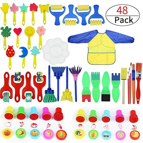 Malschwämme für Kinder, 45 Stück lustige Malerpinsel für Kleinkinder, mit Schwammbürste, Blumenmuster, Pinsel-Set, langärmlig, wasserdichte Schürze für Kinder