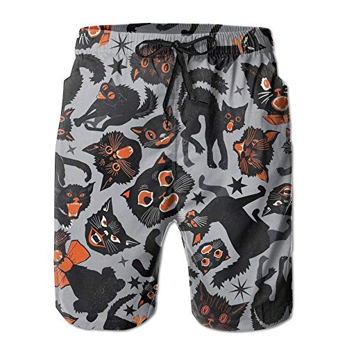 magic ship Halloween Cats Grey Men's Beach Shorts with Pockets Quick Dry Summer Shorts Swim Trunks L