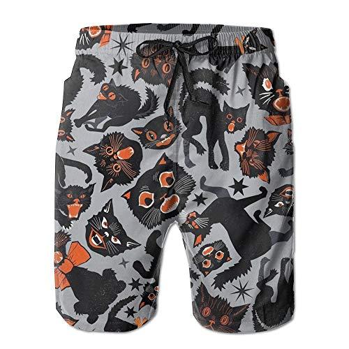 Cats Grey Men's Beach Shorts with Pockets Quick Dry Summer Shorts Swim Trunks XXL ()