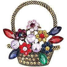 Da.Wa Broche Creativo de Moda, Accesorios de Ropa de Mujer Broche Broche de Cesta de Flores Iindo Vintage