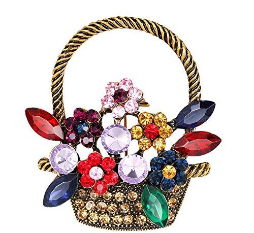 Hosaire Brosche Retro Süßes Brosche Blume Korb Diamant Hochzeit Brautschmuck Brosche Strass Schals Schal Clip für Damen Schmuck (Korb Mit Blumen Kostüm)