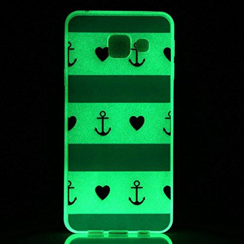 iPhone 6/6S 4.7 Inch Luminous Hülle (Mit Frie HD Displayschutzfolie) Leuchtende Silikone Rückhülle Für iPhone 6/6S 4.7'' Silikon Gel Etui Handy Hülle Weiche Transparente Luminous TPU Back Case Tasche  Blaue und weiße Streifen