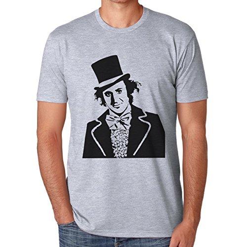 Willy Wonka Stencil Portrait Herren T-Shirt Grau