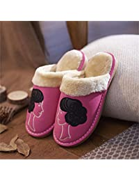 Ladies Casual lana Zapatillas Interior Antideslizante caliente Zapatillas de color a juego, 4, tamaño mediano