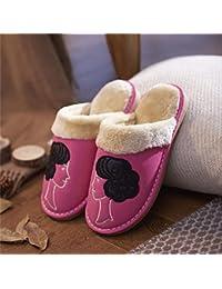 mhgao Ladies interior Zapatillas de piel sintética caliente en otoño y invierno ocio Zapatillas de algodón, 1, medium