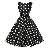 Damen Kleider Vintage Retro Kleid Petticoat Faltenrock Schwarz-Weißes Karierte Kleider Sommerkleider Knielang Hepburn Rockabilly Kleid Abendkleider Partykleider (Black01, 2XL)