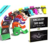 Physix Gear Sport Kinesiology Tape - Best Waterproof Uncut Muscle Support Tape for Sports Injuries - Includes Free 82 Page Illustrated eGuide with Latest Taping Techniques - 5cm x 5m Roll