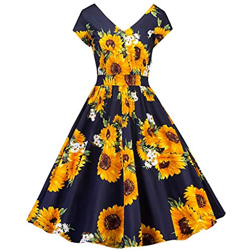 Yesmile Vintage Kleid Damen 1950er Retro Sommerkleider Ärmellose Sonnenblume Casual Cocktailkleid Petticoat Faltenrock elegant Partykleid Petticoat Abendkleid