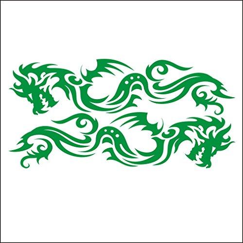 3001__DGRE Autoaufkleber Set Stammes- Drachen für Auto ( Dark Green) (Quad-scheibenaufkleber)