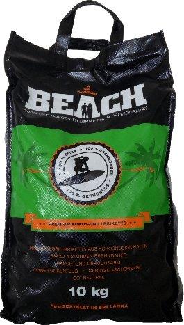 10 Kg Beach Kokos Grill Briketts von BlackSellig reine Kokosnussschalen Grillkohle - perfekte Profiqualität - REACH registriert
