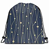 Drawstring Backpack String Bag 14x16 Blue Pattern Creative Circle Textures Yellow Folder Stylish Design Modern Advertise Beautiful Border Message Sport Gym Sackpack Hiking Yoga Travel Beach