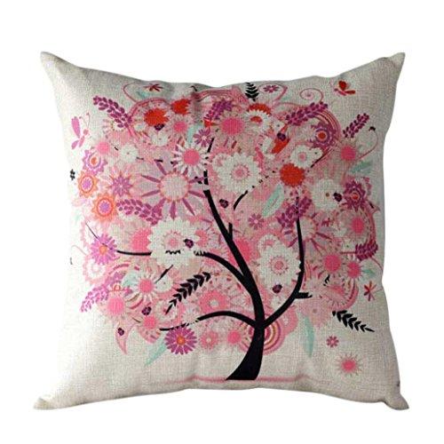Xinan Cartoon Blume Baum Fall Sofa Taille Throw Kissen Kissenbezug (Rosa) Unterschrift Maschine