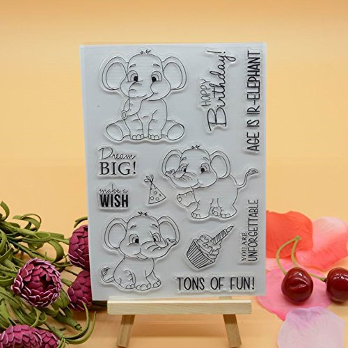 Welcome to voller Freude HOME 1Cute Dekoration Elefant Geburtstag Clear Stamp, für Karte machen und Scrapbooking