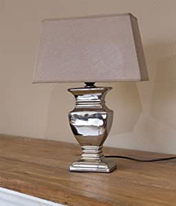 tischlampe tisch lampe leuchte tischleuchte 59 cm braun silber shabby landhaus. Black Bedroom Furniture Sets. Home Design Ideas