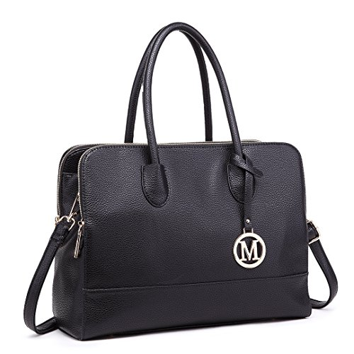 Miss LuLu Aktentasche Handtasche Laptoptasche Arbeitstasche Schultertasche Messenger Bag Retro Elegant Damen (LT1726-Schwarz) (Messenger Schwarze Bag)