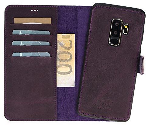 Solo Pelle Samsung Galaxy S9 Plus I S9+ unzerbrechliche / abnehmbare Lederhülle (2in1) inkl. Kartenfächer für das original Samsung S 9 Plus ( Vintage Lila ) inkl. Edler Geschenkverpackung (Tasche Mw)