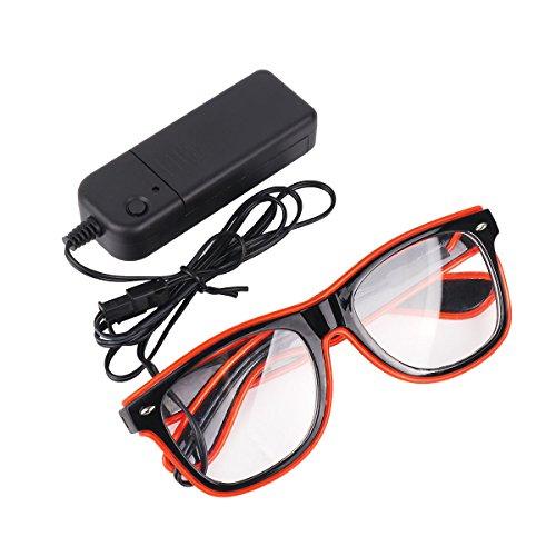 Tiaobug EL Draht Neon Wire Leuchtbrille LED Partybrille Sonnenbrille für Weihnacht, Party, Halloween, Nachtclub, Bar Disko, Konzert Rave Kostüm Rot One Size