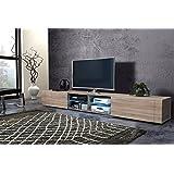 TV Schrank Lowboard Elegante Double mit LED (Sonoma Eiche Matt)