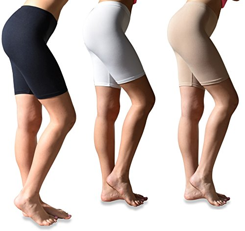 6aa65e558a538 Sexy Basics Womens 3 Pack Buttery Soft Brushed Active Stretch Yoga Bike  Short Boxer Briefs -