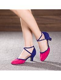 e20eb866a84 T.T-Q Chaussures de Danse pour Femme Talons Vernis en Cuir Talon cubain  Débutant Camel