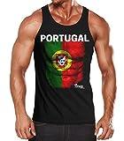 EM Tanktop Herren Fußball Portugal Flagge Fanshirt Waschbrettbauch Muskelshirt MoonWorks schwarz M